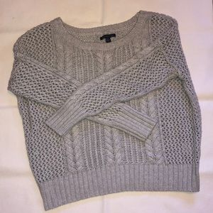 Gray open knit American eagle cropped sweater